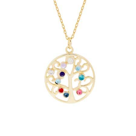 Custom 10 Stone Gold Vermeil Birthstone Family Tree Pendant