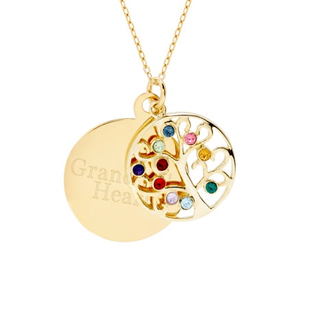 Engravable 10 Stone Gold Vermeil Birthstone Family Tree Pendant