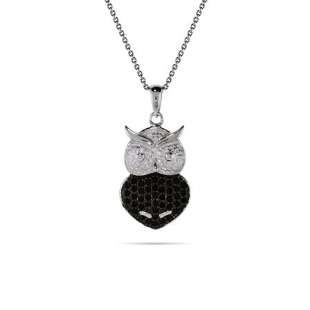 Black Onyx CZ Sterling Silver Owl Pendant