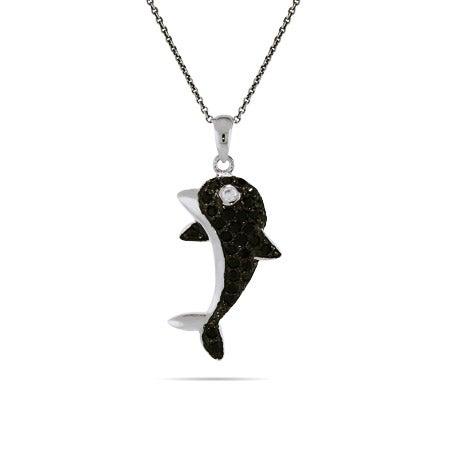Black Onyx CZ Silver Dolphin Necklace