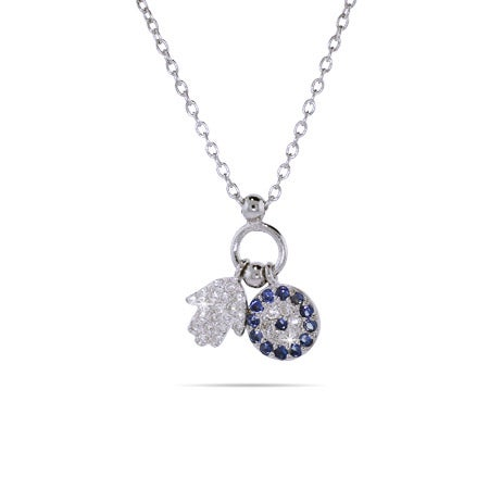Sterling Silver Hamsa and Evil Eye Charm Pendant