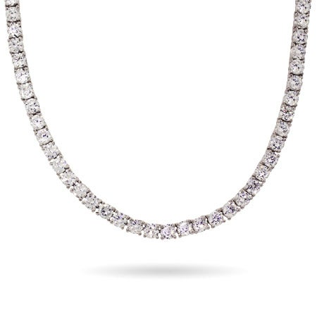 Brilliant Cut 4mm CZ Tennis Necklace in Sterling Silver