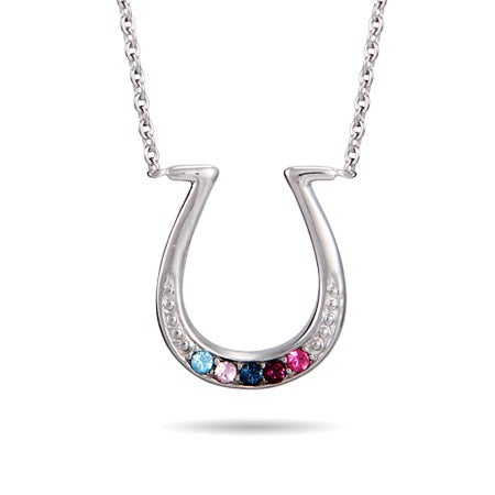 Custom 5 Birthstone Sterling Silver Horseshoe Necklace | Eve's Addiction