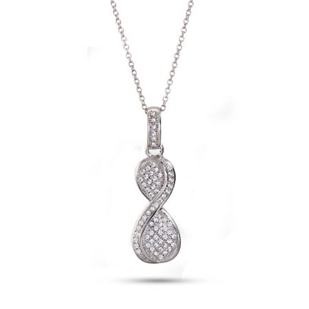 Sterling Silver Micro Pave Infinity Necklace