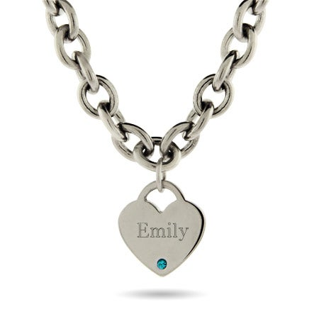 Engravable Stainless Steel Heart Tag Birthstone Necklace