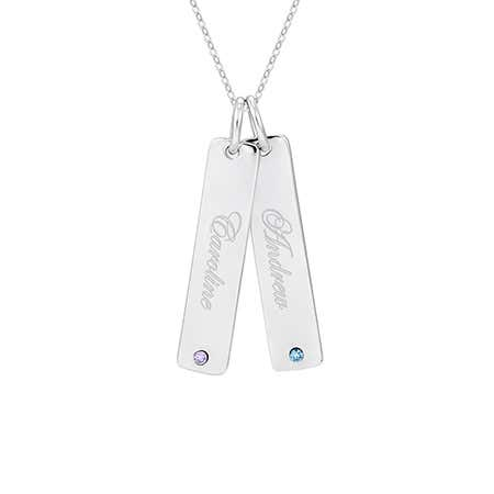 display slide 1 of 3 - Engravable Sterling Silver Double Birthstone Tag Pendant - selected slide