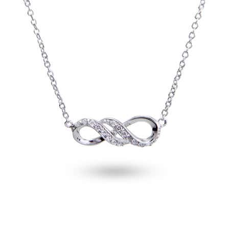 display slide 1 of 1 - Sterling Silver CZ Infinity Necklace - selected slide