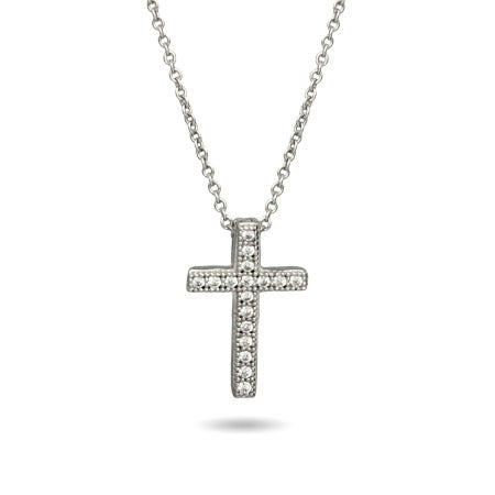 Sterling Silver Petite Micropave CZ Cross Necklace
