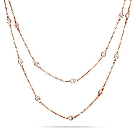 "36"" Rose Gold Vermeil CZ Studded Chain 