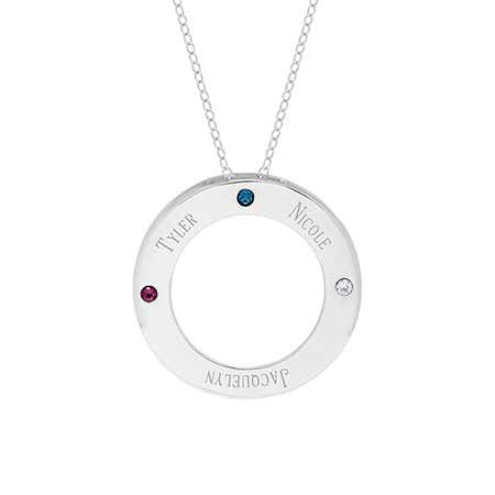 Engravable 3 Birthstone Family Circle Sterling Silver Necklace