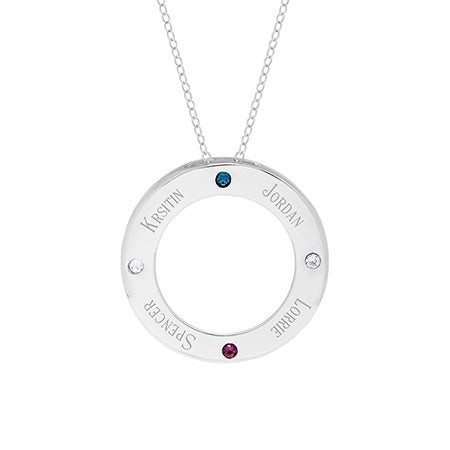 4 Birthstone Engravable Silver Circle Family Tree Pendant