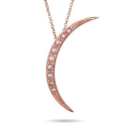 Rose Gold Vermeil CZ Crescent Moon Pendant