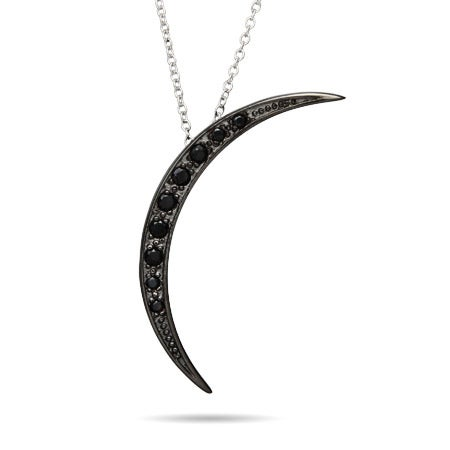 Midnight Black CZ Crescent Moon Pendant