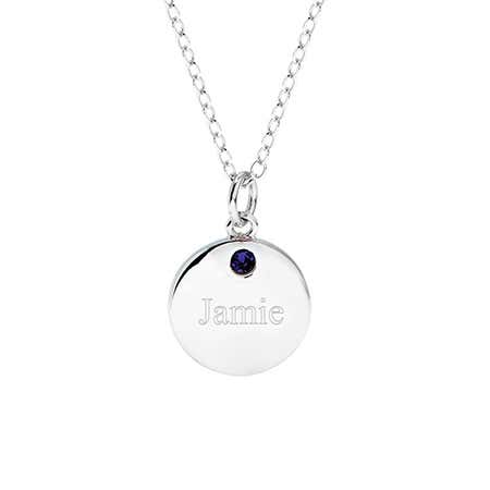 One Birthstone Engravable Round Tag
