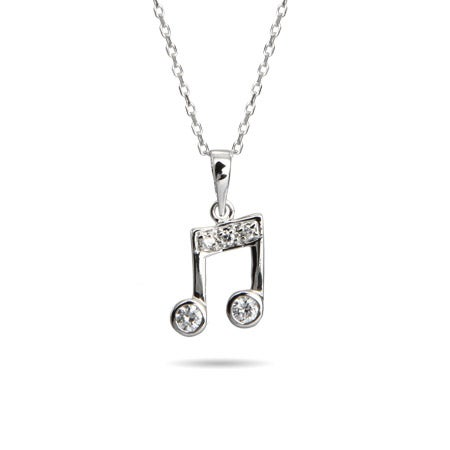 Sterling Silver CZ Music Note Necklace