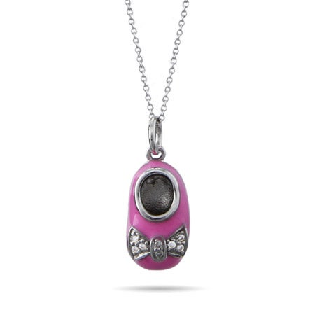 Engravable Pink Enamel Baby Shoe Pendant | Eve's Addiction