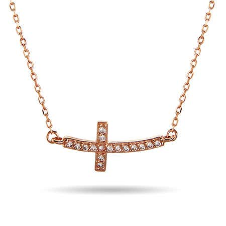 Rose Gold Curved CZ Sideways Cross Necklace | Eve's Addiction