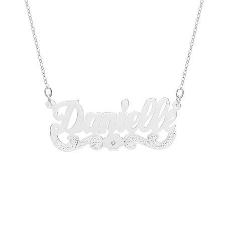Birthstone Flower Sterling Silver Custom Nameplate Necklace