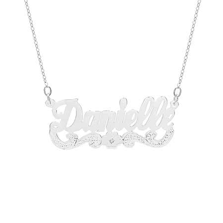 Birthstone Flower Sterling Silver Custom Nameplate Necklace