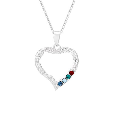 4 Stone Birthstone Vine Design Heart Mother's Necklace