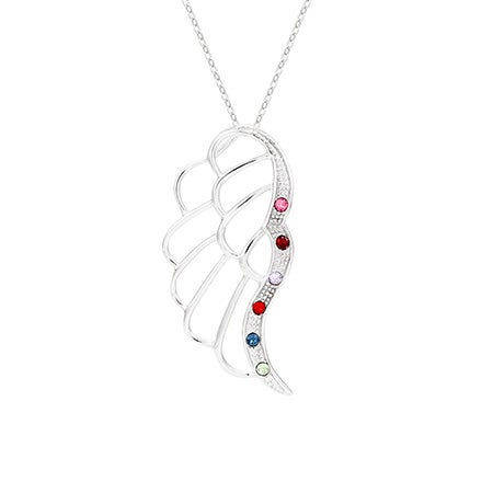 6 Birthstone Angel Wing Necklace | Eve's Addiction