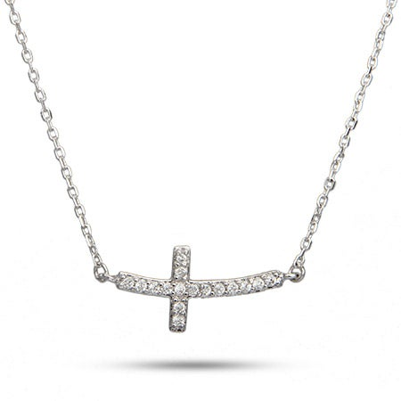 Sterling Silver Curved CZ Sideways Cross Necklace