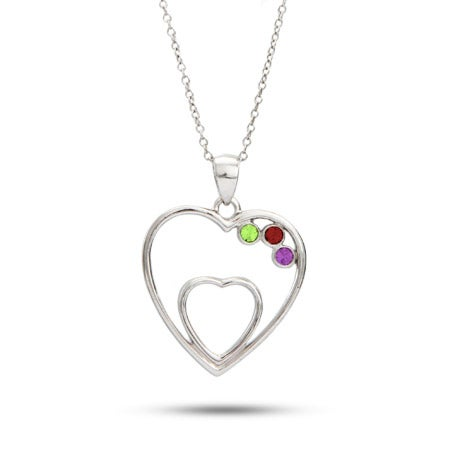 Custom 3 Birthstone 2 Hearts Austrian Crystal Pendant | Eve's Addiction