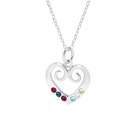 Custom 6 Birthstone Sterling Silver Heart Pendant| Eve's Addiction