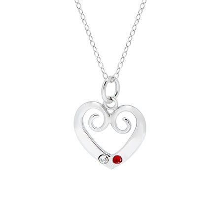 Vintage Inspired Two Birthstone Heart Pendant   Eve's Addiction