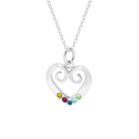 Custom Sterling Silver 5 Birthstone Vintage Heart Necklace