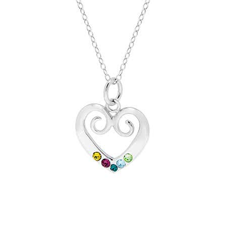 display slide 1 of 4 - Custom Sterling Silver 5 Birthstone Vintage Heart Necklace - selected slide
