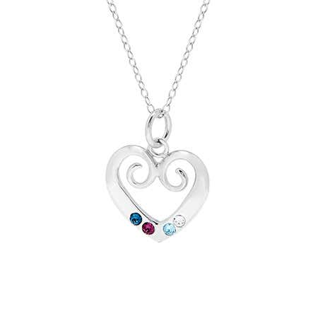 display slide 1 of 4 - 4 Birthstone Sterling Silver Custom Vintage Heart Pendant - selected slide
