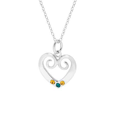 Vintage Inspired Three Birthstone Heart Necklace