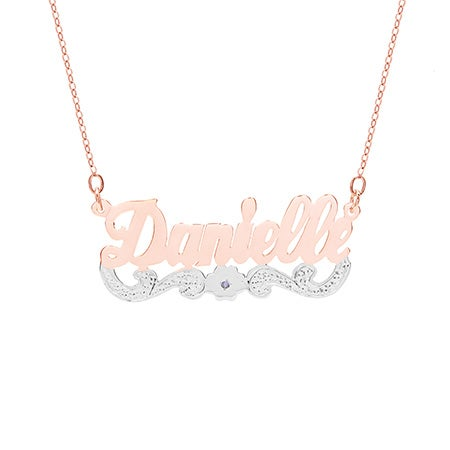 Rose Gold Vermeil Birthstone Nameplate Flower Necklace