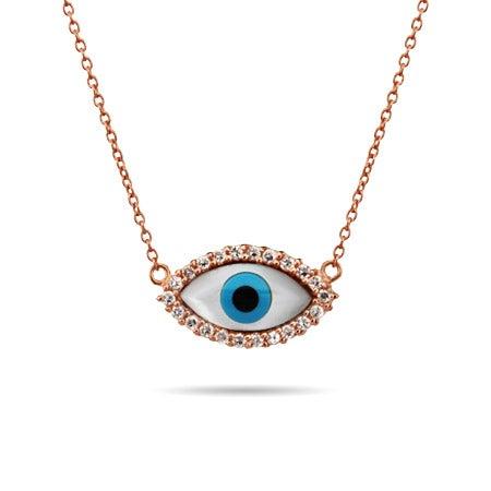 Rose Gold Vermeil CZ Evil Eye Necklace