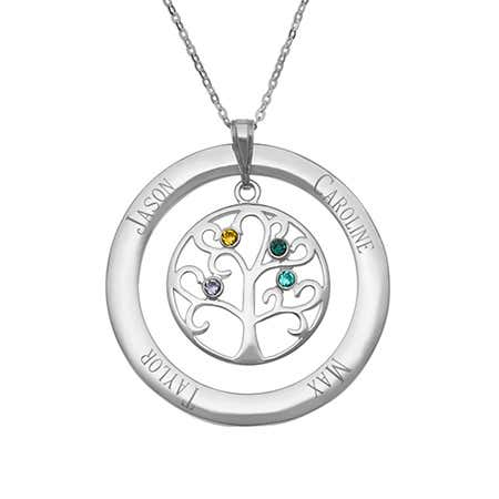 3 Birthstone Personalized Crystal Family Tree Pendant