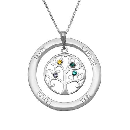 4 Stone Personalized Birthstone Crystal Family Tree Necklace