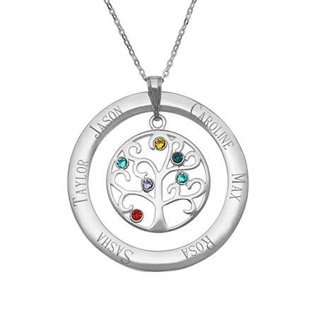 display slide 1 of 5 - Engraved 6 Birthstone Family Tree Pendant - selected slide