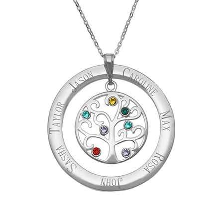 7 Stone Personalized Birthstone Family Tree Pendant