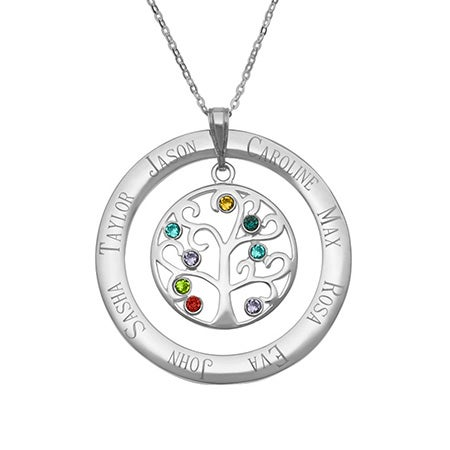 8 Stone Engravable Birthstone Family Tree Pendant