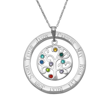 9 Stone Personalized Crystal Family Tree Necklace