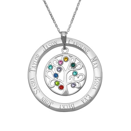 Personalized 10 Stone Crystal Family Tree Pendant