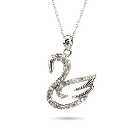 Sterling Silver Glistening Swan Pendant