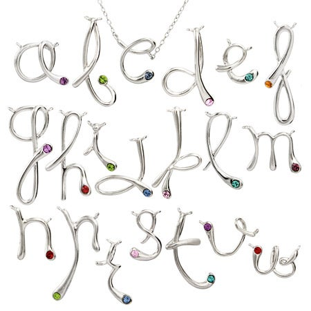 Birthstone Initial Necklace Pendant | Eve's Addiction