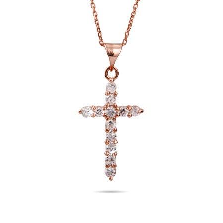 Rose Gold Vermeil CZ Cross Necklace