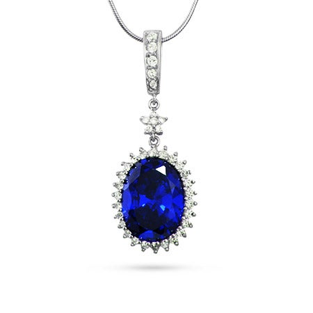 Oval Cut Sapphire Blue CZ Pendant with Star Accent