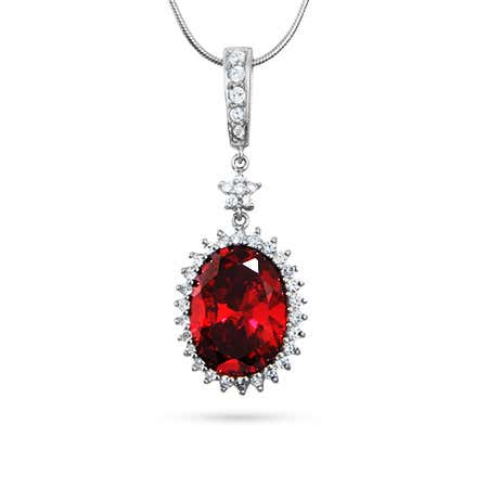 Oval Cut Ruby Red CZ Pendant with Star Accent