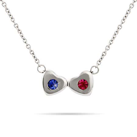 display slide 1 of 3 - Two Birthstone Family of Hearts Necklace - selected slide