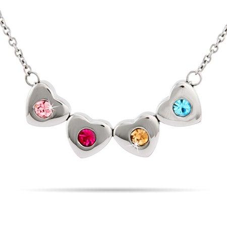 Custom 4 Stone Family of Hearts Birthstone Necklace