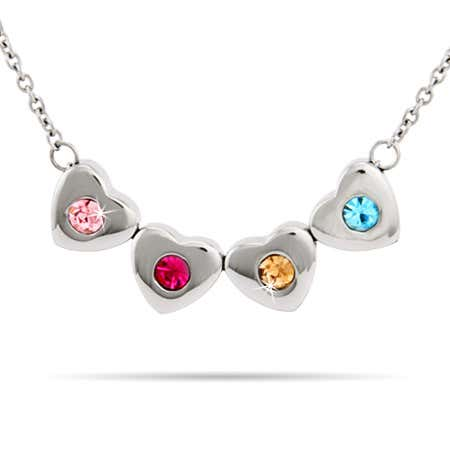 Custom 4 Stone Family of Hearts Birthstone Necklace